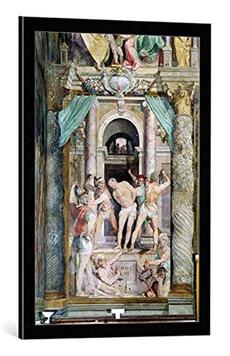 """Quadro con cornice: Federico Zuccari """"Geißelung Christi"""" - stampa artistica decorativa, cornice di alta qualità, 50x75 cm, nero / angolo grigio"""