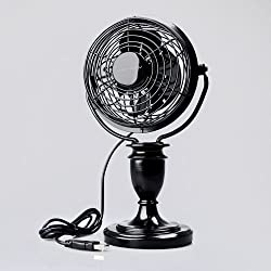 [Clearance Deal] Luckyway Mobile Mini Decorative External 4-Inch USB-Powered Desk Cooling Fan Energy Saving FT-10L-013, Black, Hand-Made Polyresin Base