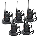 5 Pack BaoFeng BF-888S Long Range UHF 400-470 MHz 5W CTCSS DCS Portable Handheld 2-way Ham Radio with Original Earpiece *5 pcs + Baofeng Programming Cable (Support WIN7,64 Bit)*