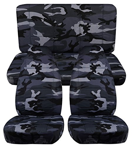 Front and Rear Solid Camouflage Seat Covers for a 2013 to 2015 Jeep Wrangler 2 Door Front and Rear Separate Headrest Covers (Alpine Camouflage) (Jeep Jk Seat Covers Camo compare prices)