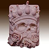 2d silicone Soap/Guest/polymer/clay/cold porcelain mold- Skeleton Rose Plaque