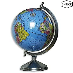 EnticeSelections Antique Handicrafted Big Desktop Rotating Globe World Blue Ocean Earth Geography Table Decor  8 Inch