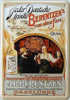 Berentzen's vom alten Fass Blechpostkarte