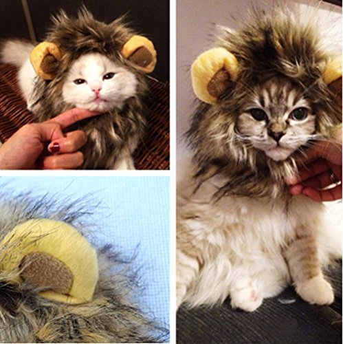 Lillypet TM Costume Lion Mane Wig for Dog Cat Halloween Dress up with Ears Lion Mane Cat Hat. Turn Your Cat Into a Ferocious Lion