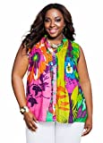 Ashley Stewart Womens Plus Size Tropical Print Button Down Shirt