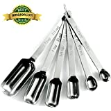 Narrow Stainless Steel Measuring Spoons, 6 piece set, Chef Quality and Commercial Durability - Koem