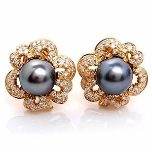 Estate 3.00ct Diamond Pearl 18k Gold Flower Earrings