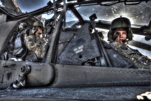 Aircraft Wall Decals Hdr Image Of Pilots Equipped With A Monocle In The Cockpit Of An Ah-64 Apache - 60 Inches X 40 Inches - Peel And Stick Removable Graphic