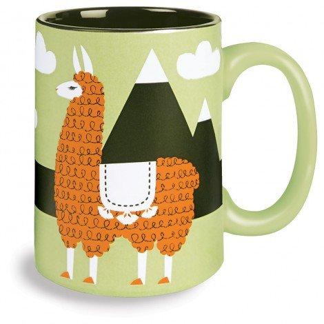 Kitsch'n Glam 16 Oz Mug, Llama, Green