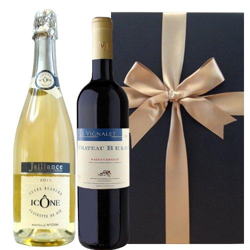 【ワインギフトセット】 シャンパーニュ製法によるフランスのスパークリングワイン、コート・デュ・ローヌ、AOCサン・シニアンの香り豊かな赤ワイン、ミディアムボディ、2011年 (750 ml x 2)