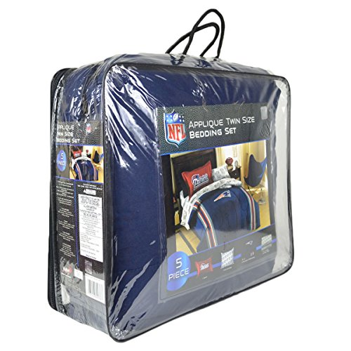 Officially Licensed Nfl Twin Bed Applique Comforter And Bedding Set - New England Patriots