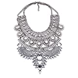 NABROJ Costume Chunky Silver Necklace with Clear Crystal Bib Choker Flower Pendant Necklace Collar Bridal Drag Queen Jewelry 1 Pc-HL23 Silver (Color: Silver)
