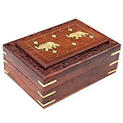 ITOS365 Handmade Wooden Jewellery Box for Women Jewel Organizer Elephant Dcor, 6 Inches