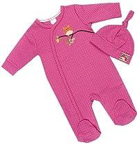 Robeez Baby-Girls Newborn Owl Two Piece Coverall & Hat Set, Fuchsia, 6-9 Months