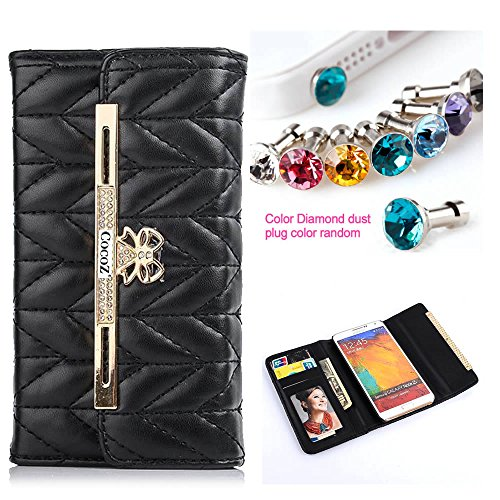 Cocoz® Fashion Color Pu Leather Case Card Holder Flip Case Cover Credit/Id Card Slots/Holder&Strapfor Samsung Note3/Note Iii Case (Black)