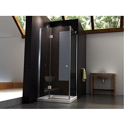 Box doccia con anta fissa e porta battente verso l'esterno 70x100 cristallo trasparente 8mm