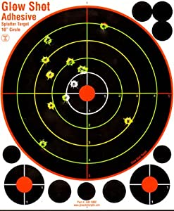 """50 Pack - 10"""" Adhesive Multi-Color Reactive Splatter Targets - Glowshot - with 500 cover up patches"""