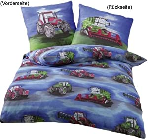 anaterra 10000912 parure de lit 1 place avec taie d 39 oreiller motif tracteur 135 x 200 cm amazon. Black Bedroom Furniture Sets. Home Design Ideas