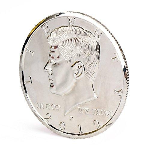 【手品グッズ】 マジックコイン ケネディ・ハーフダラー・コイン アメリカ50セント 3インチ 73.5mm  シルバー -