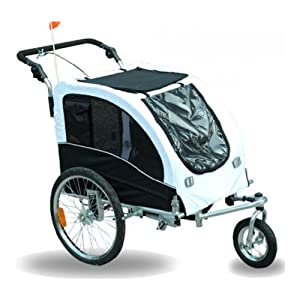 Aosom Elite II Pet Dog Bike Bicycle Trailer Stroller Jogger w/ Suspension - White / Black