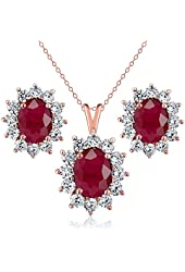 3.40 Ct Oval Red Ruby 18K Rose Gold Plated Silver Pendant Earrings Set
