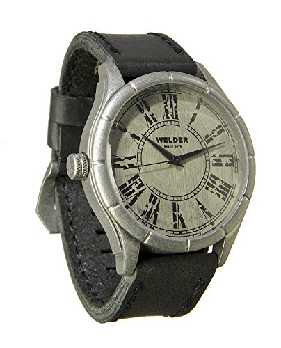 Welder Men's Quartz Watch with White Dial Analogue Display and Black Leather Strap K21-502