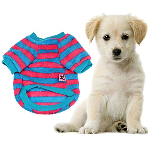 [Wensltd Autum Coral Fleece Pet Warm Sweater Doggy Apparel Stripe Hot+cool (S, A)] (Autum Fairy Costumes)