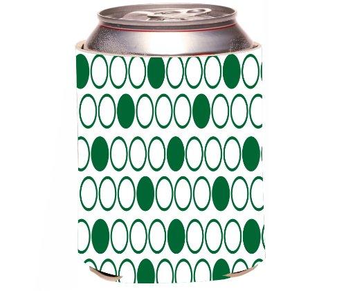 Rikki Knight Beer Can Soda Drinks Cooler Koozie, Inverted Green Polka Dots Design front-566321