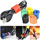 247TeckSoukTM Set of 6 Multipurpose Colorful Cable Wire Ties Curtain Marker Straps Belts Holders (Assorted Colors)