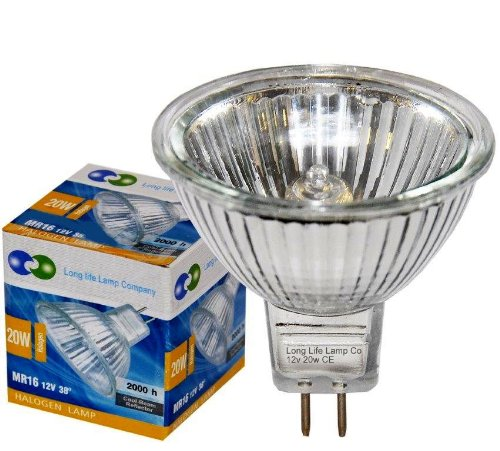 2 x LONG LIFE MR16 20w Halogen Bulbs GU5.3 Lamp 12v Halogen with Aluminium Reflector