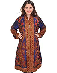 Exotic India Twilight-Blue Long Jacket From Kashmir With Ari-Embroidered - Blue