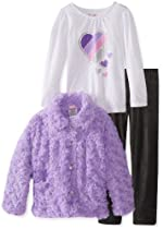 Nannette Girls 2-6X 3 Pieced Pocketed Hearts Jacket Shirt and Pant, Purple, 6X