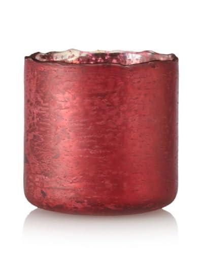 Antique Foil Finish Uneven Rim Glass Votive, Red