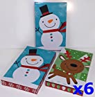 Christmas Gift Boxes, Assortment of Adorable Holiday Themes, with Lids, Tissue Paper, & Gift Tag Stickers (6-Pack Standard Shirt Boxes [Snowman Reindeer Snowflakes])