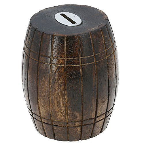 Antique Inspired Barrel Shaped Wooden Money Holder Coin Bank for Kids