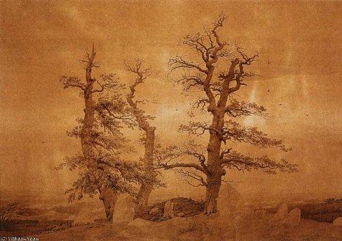 Pittura a olio dipinta a mano - 20 x 14 inches / 51 x 36 CM - Caspar David Friedrich - giant grave by the sea