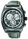 Citizen Men's Quartz Watch with Black Dial Analogue Display and Grey Leather Strap BL8127-02E
