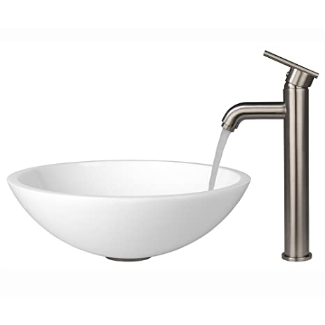 VIGO Flat Edged White Phoenix Stone Vessel Sink and Seville Vessel Faucet with Pop Up, Brushed Nickel