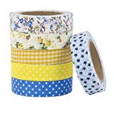 Stationery Island Creative Adhesive Fabric Tape for Scrapbooking - Set of 6 mixed designs - YELLOW AND BLUE DOTS, YELLOW CHECKS AND FLORAL