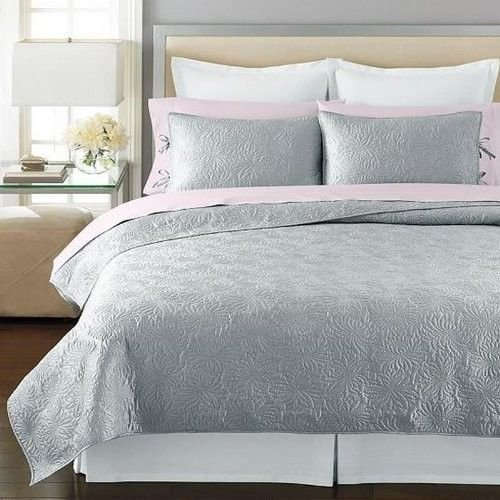 Martha Stewart Collection Carved Dahlia Twin Quilt Silver front-991724