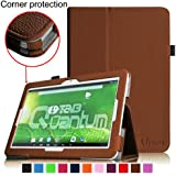 [Corner Protection] Fintie Matricom G-Tab 10.1 Folio Case - Premium PU Leather Cover with Stylus Holder for Matricom G-Tab Quantum / Matricom G-Tab Iota 10.1-Inch Android Tablet - Brown