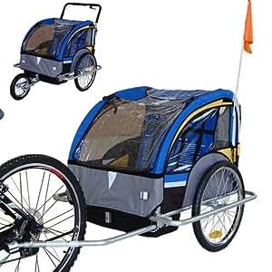 Convertible Jogger Remorque à Vélo 2 en 1, pour enfants - 502-03 Jaune/Bleu/Gris