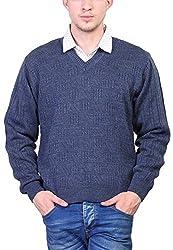 Priknit Men's Blended Sweater (SH-800-44 D BLUE, D Blue, 44)