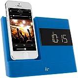 KitSound XDOCK 2 Radio Réveil avec Station d'Accueil et Connecteur Lightning pour iPhone 5/5S/5C/6 (12cm)/iPod Nano 7/iPod Touch 5 - Livré avec Prise EU - Bleu