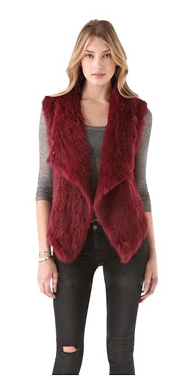 YR Lover Damen Winter Warm Echt Kanichen Pelz Weste Mantel online kaufen