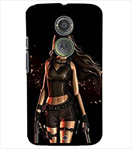 PrintDhaba SHOOTING GIRL D-6482 Back Case Cover for MOTOROLA MOTO X2 (Multi-Coloured)