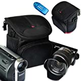 First2savvv stylish heavy duty black Nylon camcorder case bag for panasonic Lumix HC-V10 HC-X920 HC-V520 Toshiba CAMILEO X400 CAMILEO X200 CAMILEO X150 CAMILEO Z100 with card reader
