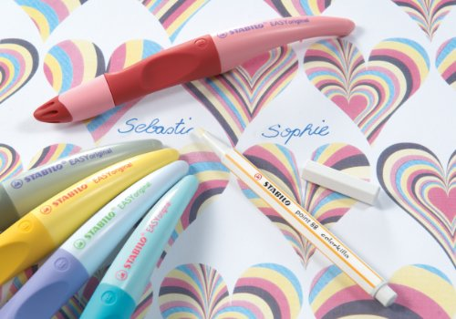 Stabilo Easy Pastel Hearts - Bolígrafo (para diestros), color rojo y rosa