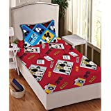 Disney- Athom Trendz- Mickey Mouse Cotton Single Bed Sheet Set- Red
