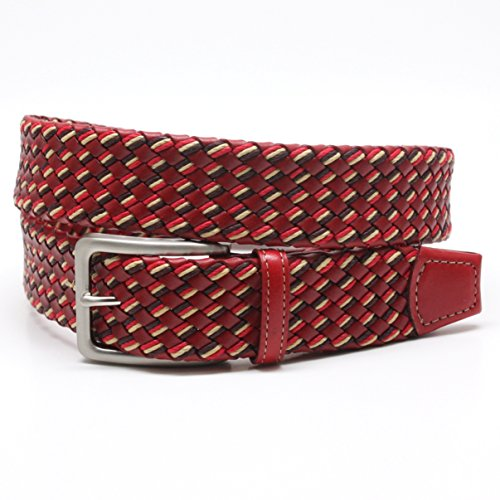 Torino 35MM Italian Tubular Leather Wax Cotton Braided Red Belt